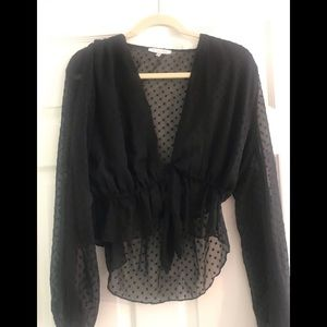 Winston white black blouse size medium